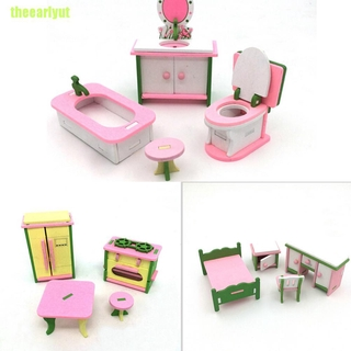 theearlyut Doll House Miniature Bedroom Wooden Furniture Sets Kids Role Pretend Play Toys