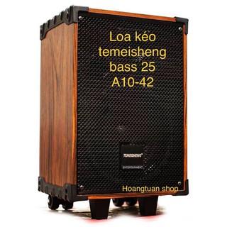 Loa kéo Temeisheng A10-42 vỏ gỗ (bass 25cm 2 mic bluetooth).