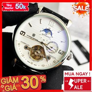 [QUÀ TẶNG] Đồng hồ cơ - Đồng Hồ Dây Da Nam 43mm Fom Size Chuẩn Chống Nước Chống Xước Tốt 80172.LM - 1199 Watches