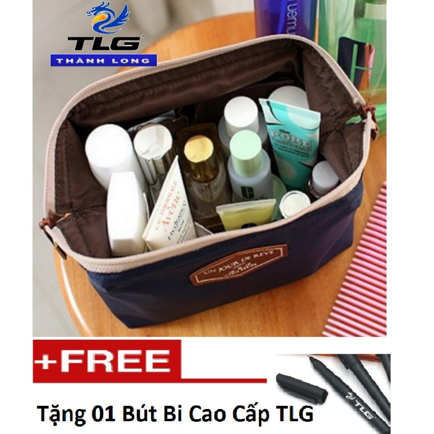 Túi đựng đồ mĩ phẩm du lịch Đồ Da Thành Long TL 880 2(xanh tím than) tặng 01 bút bi cao cấp