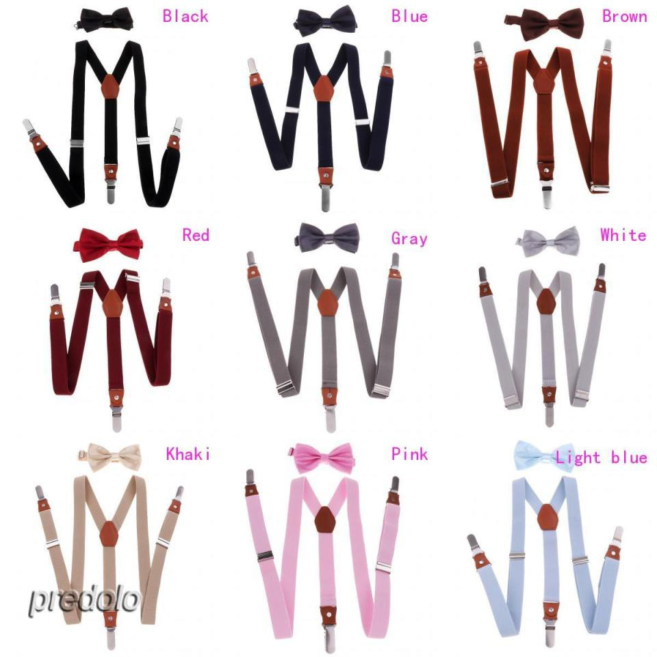 Adjustable Suspender Clip-on Braces and Bow Tie Set for Baby Giá chỉ 117.000₫