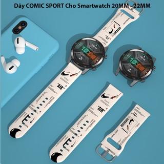Dây COMIC SPORT Cho Smartwatch 20MM - 22MM - Mềm Phong Cách
