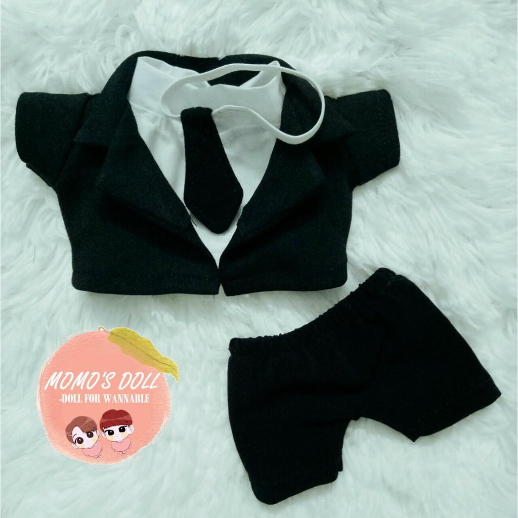 Suit đen kèm cà vạt- outfit doll 20cm