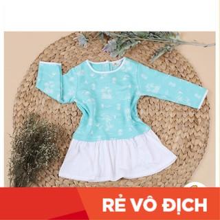 Váy nỉ da cá  phối cotton dài tay họa tiết bé gái size 2-7T, cho bạn từ 11-23kg. Chất nỉ da cá dày dặn, siêu bền