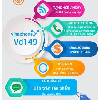SIM 4G Vinaphone trọn gói 1 năm, miễn phí data từ 720GB đến 1440GB, miễn phí nghe gọi, gói Fhappy, D60G, VD149