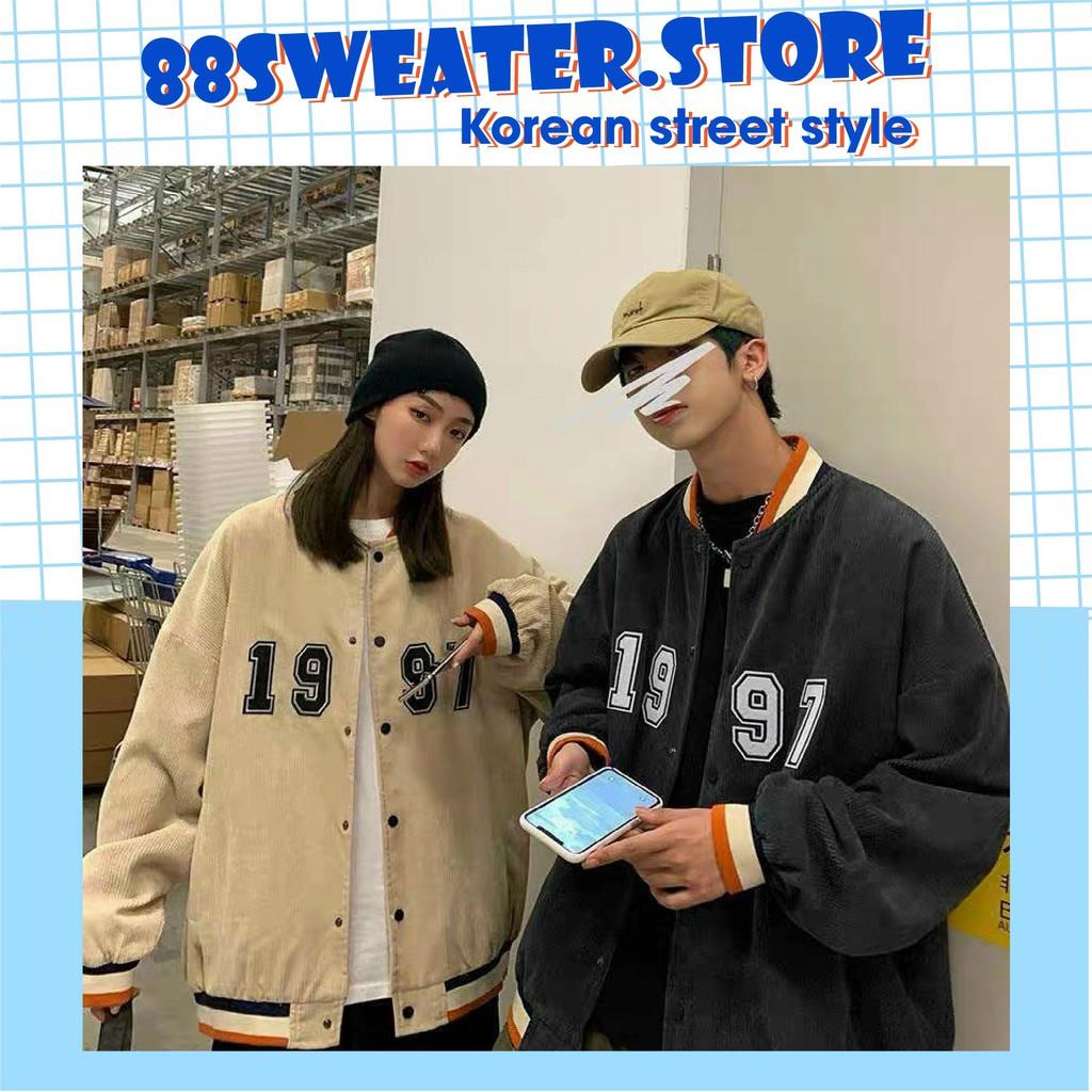 áo khoác bomber chất nhung dày dặn áo khoác bóng chày dành cho nam nữ form rộng phong cách ulzzang VN07