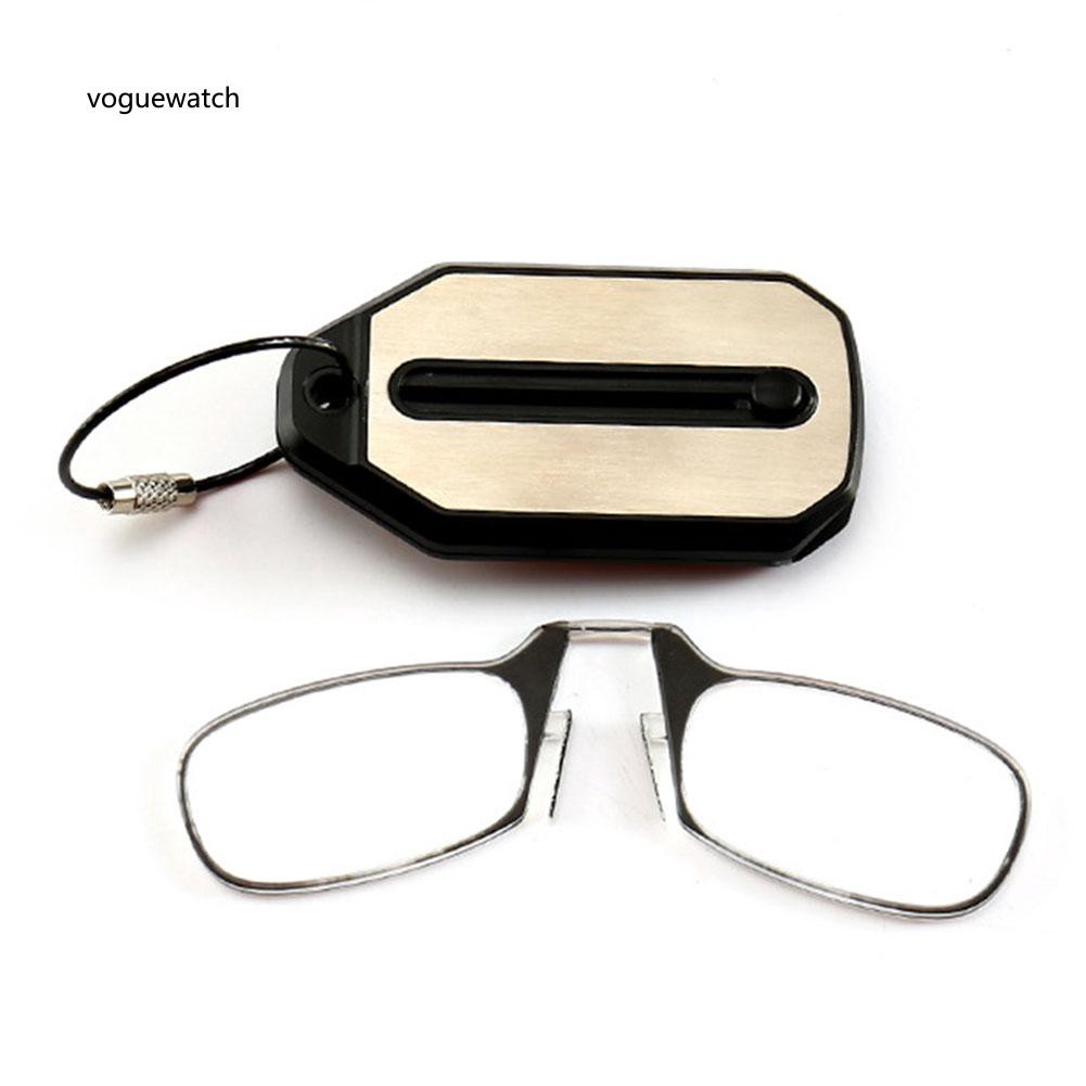 VGWT_Unisex Foldable Nose Clip Reading Glasses Keychain Fob Strength 1.5 2.0 2.5 3