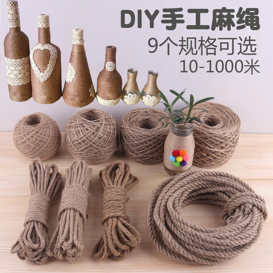 Diy handmade jute rope retro ornament thick and thin rope hanging plate wall piece hemp rope packaging bundled rope hayb