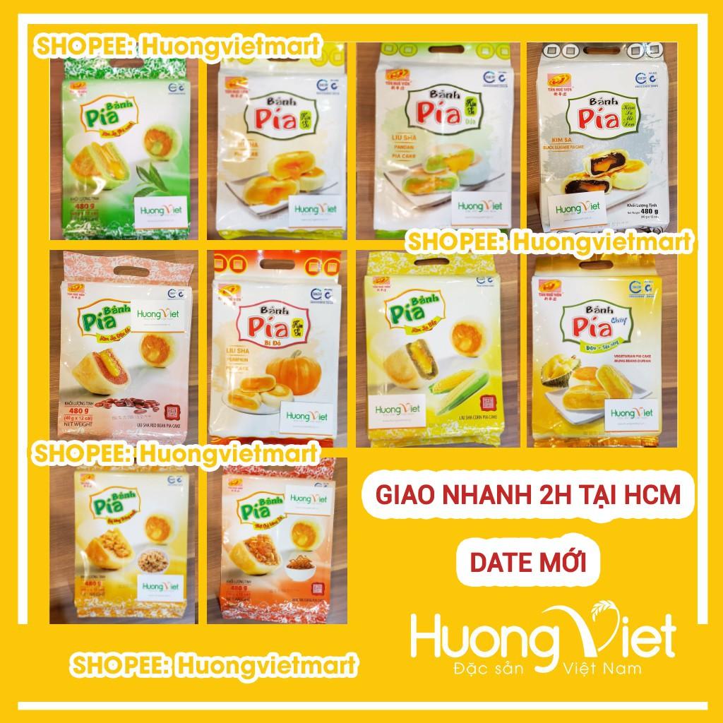 Bánh pía kim sa Tân Huê Viên trứng muối tan chảy 10 vị bánh pía Sóc Trăng mini, bánh kẹo ăn vặt [TÚI 12 BÁNH]
