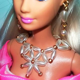 Bộ Trang Sức Búp Bê Barbie – Vòng cổ, Hoa Tai Búp bê Handmade Mạ Bạc Nguyên liệu Cao Cấp #9