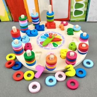 YOUN* Preschool Baby Toys Early Education Teaching Math Toy Wooden Digital Clock Count Matching
