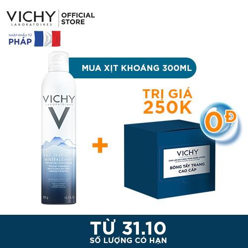 Nước khoáng dưỡng da Vichy Mineralizing Thermal Water 300ml & Mua Kèm 0 Đồng Bông Tẩy Trang Vichy