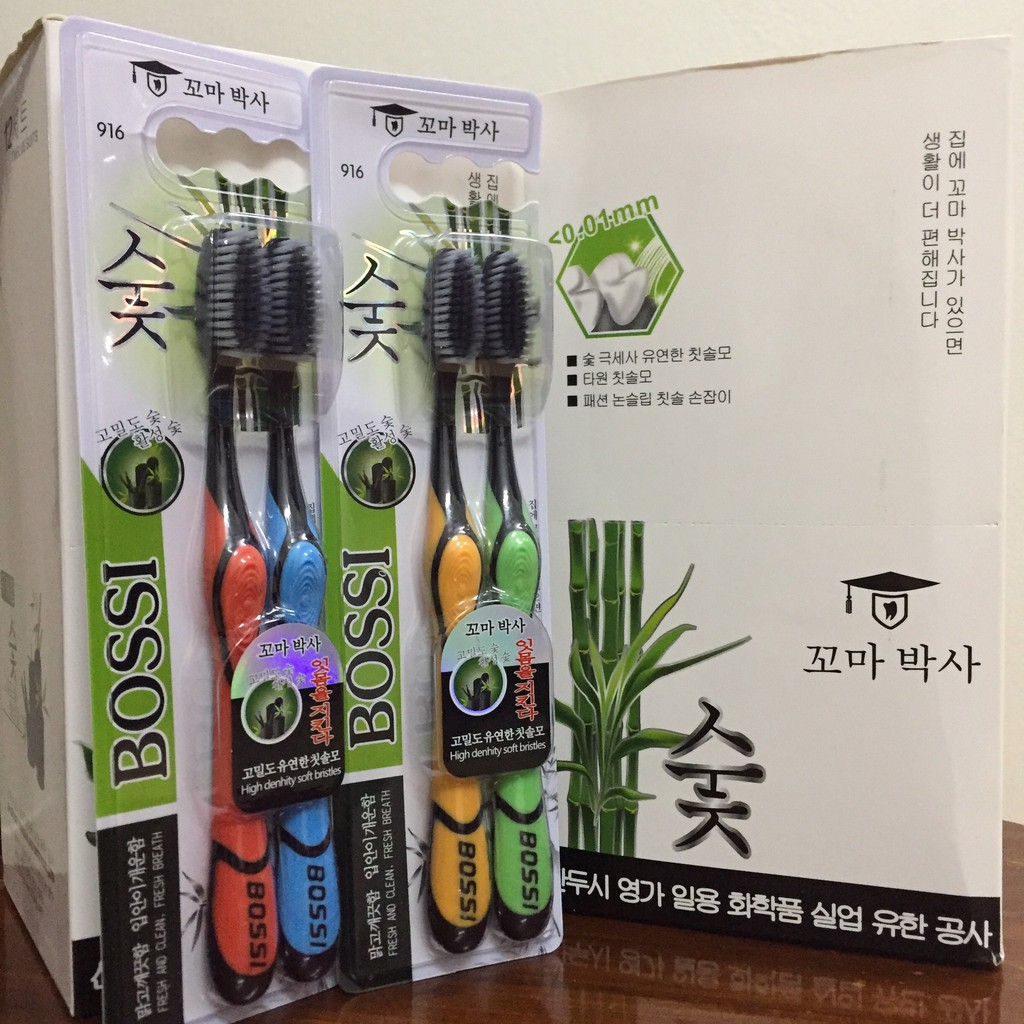 [Mã FMCGLOC giảm 5% đơn 250K] Hộp 30 cái Bàn Chải Đánh Răng Than Tre Hoạt Tính Bossi Hàn Quốc (Siêu rẻ)