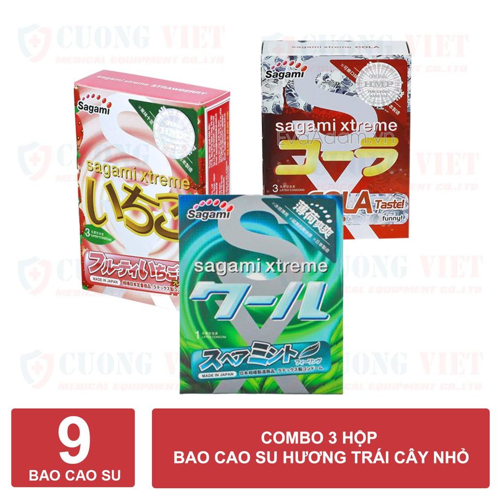 Bao cao su Sagami Huong dâu Hương Cola và Hương Bạc Hà (3 hộp 9 cái)