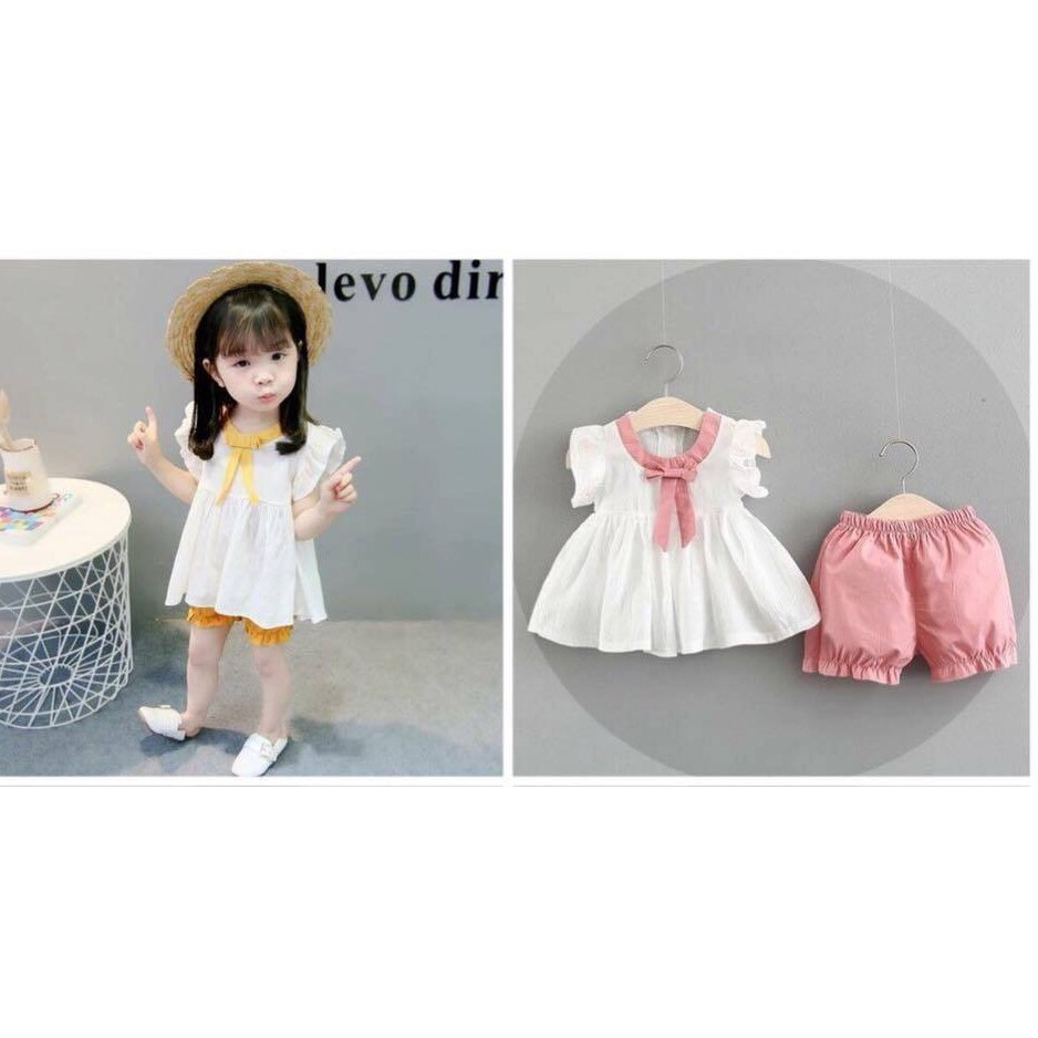 Đồ Bộ bé gái Baby Doll Nơ Hồng vải lụa 10 - 22 kg