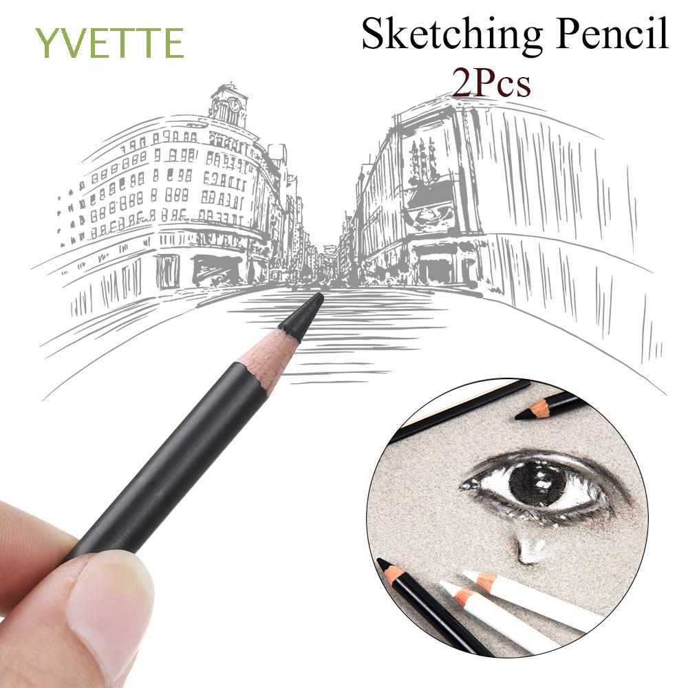 2pcs Smooth Colored Art Supplies Charcoal Writing Tool Sketching Pencil
