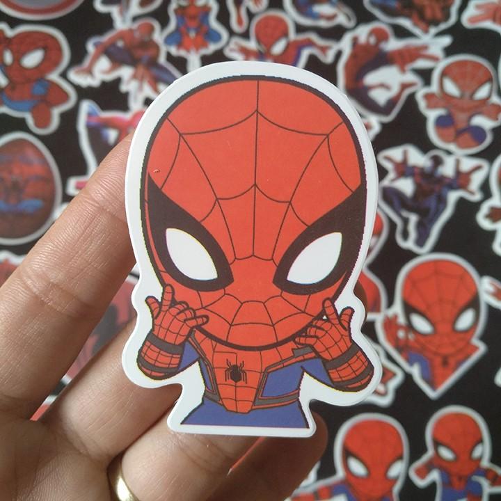 Bộ Sticker dán cao cấp chủ đề SPIDER MAN - NGƯỜI NHỆN - Dùng dán Xe, dán mũ bảo hiểm, dán Laptop...