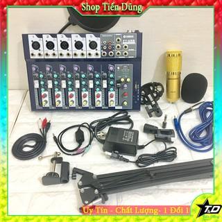 Mic thu âm BM900 đi Mixer f7 chân đế màng lọc dây livestream chế kèm dây 1 ra 2 và zắc 3.5 lên 6.5