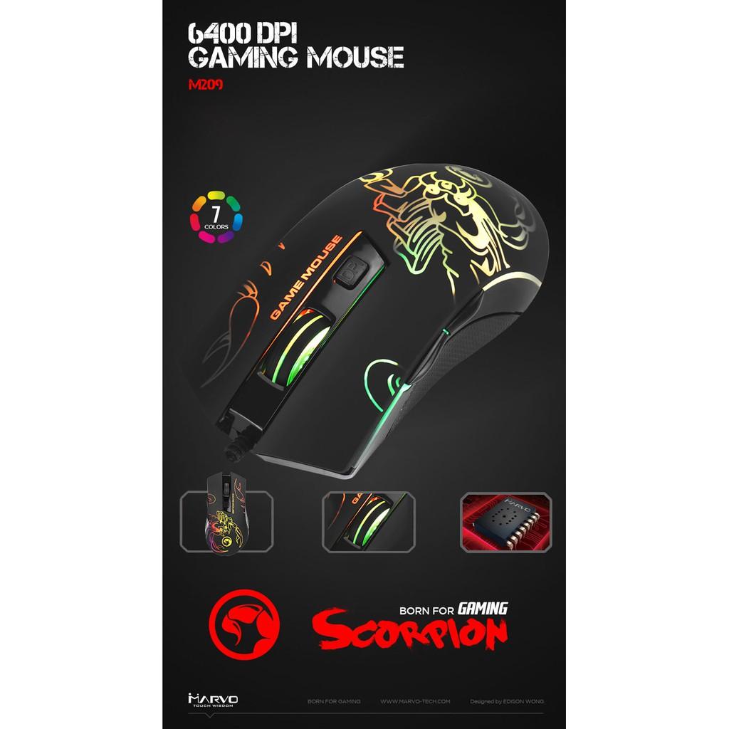 Chuột vi tính Marvo M209 USB 2.0 có đèn led chơi game