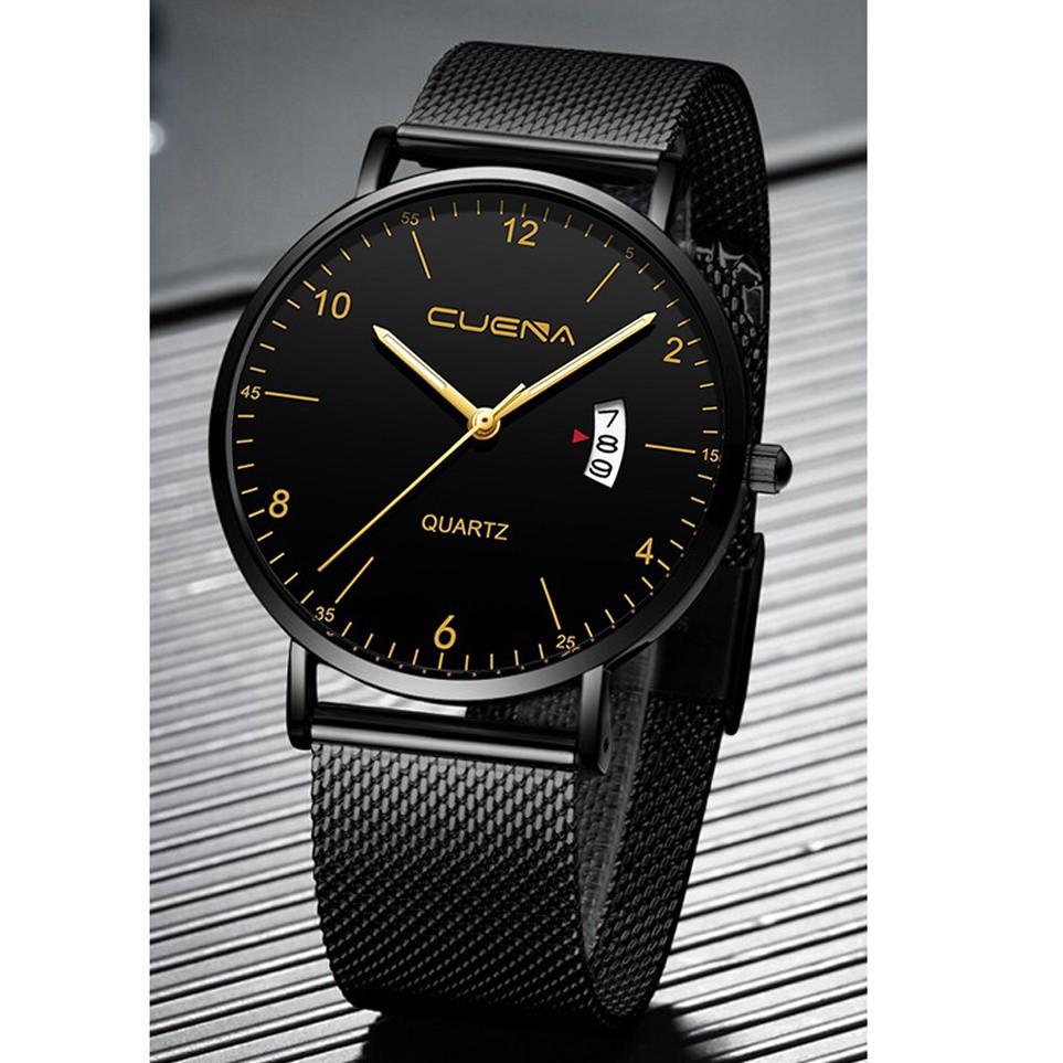 Đồng hồ nam CUENA C80011 lịch ngày sang trọng chống nước 3ATM chất liệu thép lụa mềm dễ đeo Đồng Hồ Doanh Nhân Đơn Giản