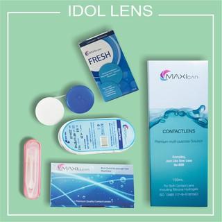 Bộ kính áp tròng cận, không màu MAXIclear, nước ngâm kính MAXIcare 150ml +dung dịch nhỏ mắt MAXIfresh 15ml + bộ gắp lens