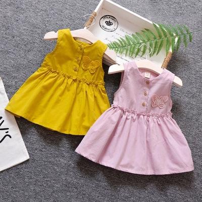 Summer Girls Dress Vest Butterfly Princess Dresses Kids Children Clothes Gift
