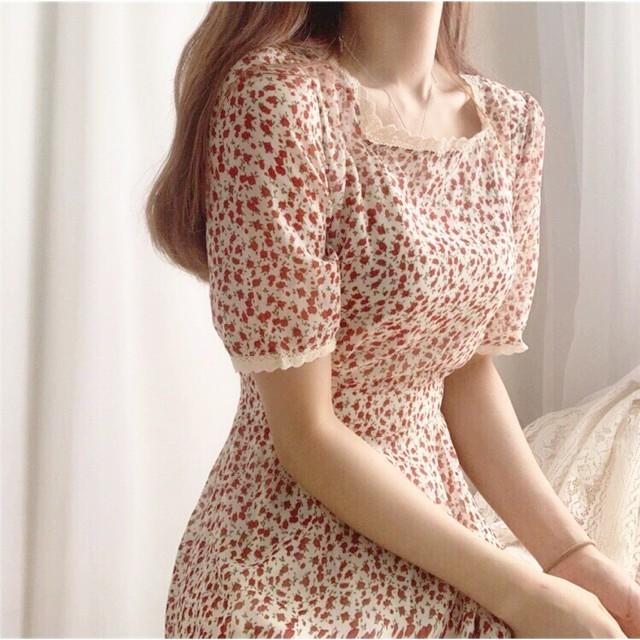 Váy hoa nhí cổ vuông tay lỡ,Đầm vintage thời trang Hàn Quốc công sở dạ hội dự tiệc event ulzzang