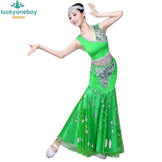Women Sequins Design Dai Peacock Dance Performance Fishtail Wrap Hip Flower Costumes