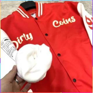 Jacklane Áo khoác bomber DirtyCoins Embroidered Varsity Jacket Red nam nữ 2 màu cực đẹp như hình