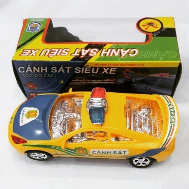 Xe cảnh sát chạy pin có đèn, nhạc, xoay 360° (512)