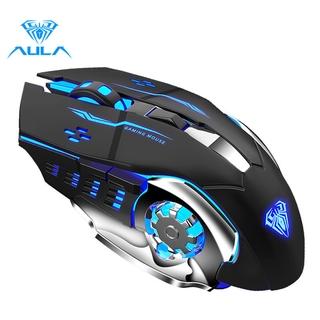 Chuột quang không dây AULA SC100 đèn 4 màu cho máy tính 800mAh