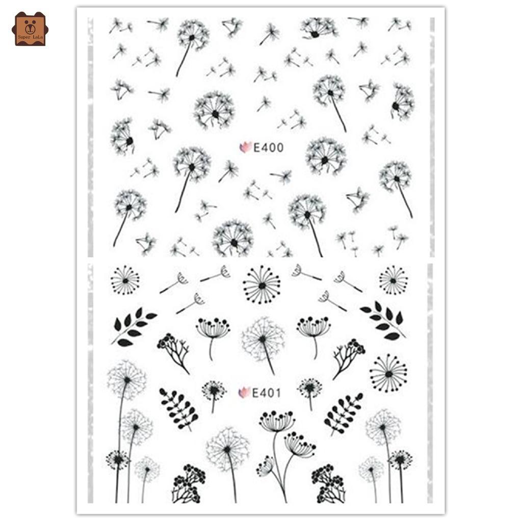 Set 2 tấm sticker dán trang trí móng tay nghệ thuật hình hoa đẹp mắt thumbnail