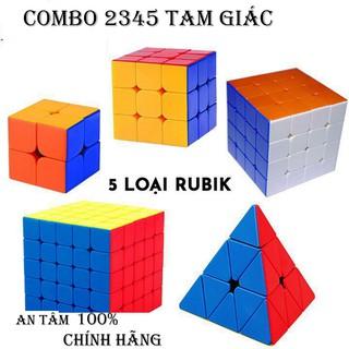 Combo 5 loại Rubik đẹp, xoay trơn, không rít, độ bền cao (Rubik 2×2, Rubik 3×3, Rubik 4×4, Rubik5x5 & Rubik tam giác)