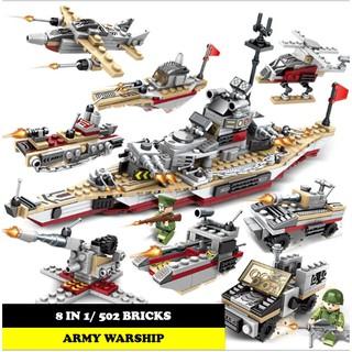 Bộ 8 hộp lắp ghép lego tàu chiến 8 trong 1 – 63006 Lắp ghép thuyền chiến – Đồ chơi xếp hình trí tuệ