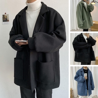 Mid long woolen coat Korean fashion wool windbreaker men's winter thickened coat Hong Kong Style Men's coat in stock