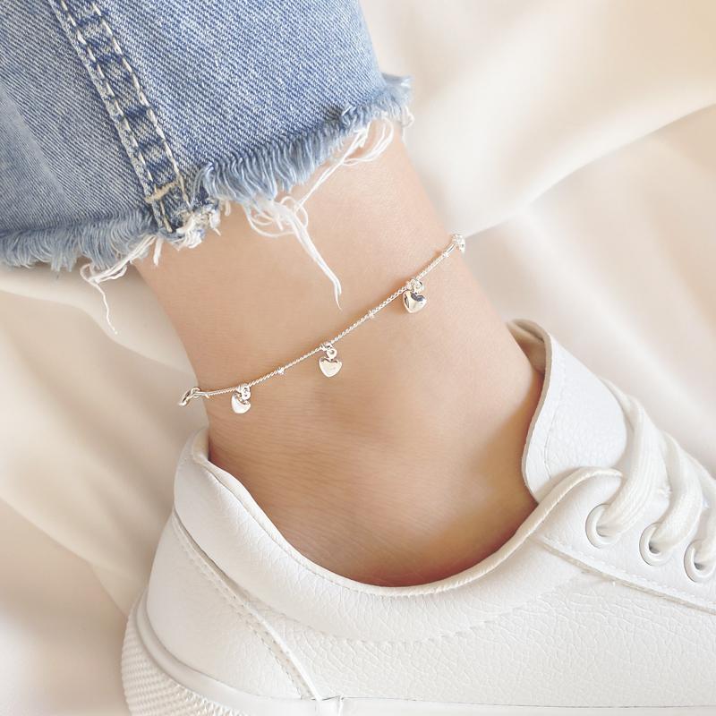 Lắc chân bạc hình trái tim tua rua thời trang cho nữ