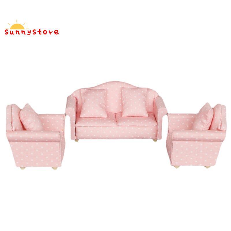 Mini Dollhouse Sofa, 1/12 Miniature Polka Dot Sofas 3-Piece Sofa Set with 4 Pillows Dollhouse Furniture for Home Bedroom