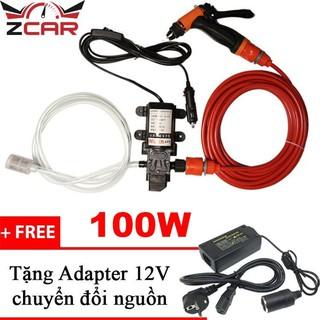 Máy rửa xe mini,máy bơm tăng áp 12V có thể điều chỉnh lực nước rửa xe,tưới cây cảnh + Tặng bộ chuyển đổi nguồn Adapter thumbnail