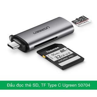[Mã ELFLASH5 giảm 20K đơn 50K] Đầu đọc thẻ nhớ USB type-C cho thẻ SD/TF chính hãng Ugreen 50704 cao cấp