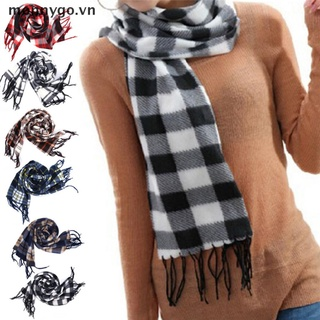【monnygo】 Stylish Wool Blend Women&Men Geometric Plaid Wrap Winter Warm Fleece Scarf Shawl 【VN】