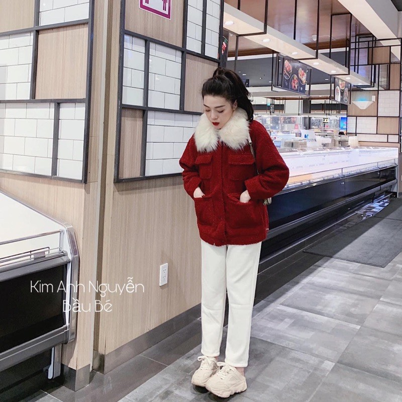 áo khoác lông xù đỏ cổ lông hàng QC