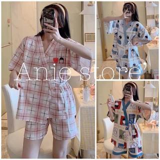 Bộ Pijama Nữ Dây Eo Cộc Tay Icon CLARA Set Ngủ Mặc Nhà Ngắn Tay Nhiều Màu