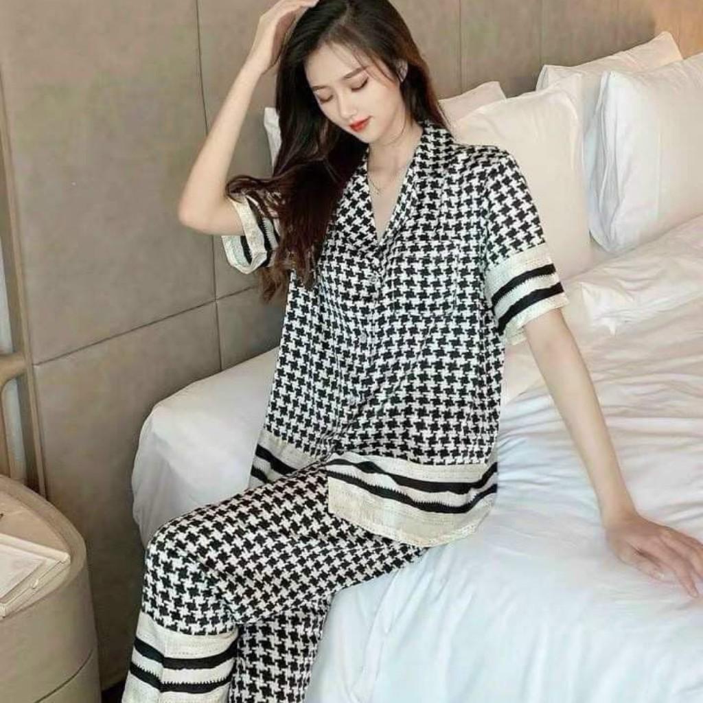 Mặc gì đẹp: Mát mẻ với Đồ ngủ pijama lụa latin, tay cộc quần dài,mặc ở nhà H&T