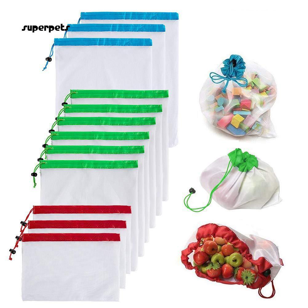 super_12Pcs/Set Transparent Drawstring Vegetable Fruit Storage Bag Container Organizer