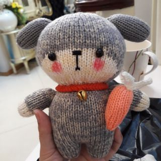 Cún con đan bằng len, đồ chơi an toàn cho bé.cao 20_25cm.