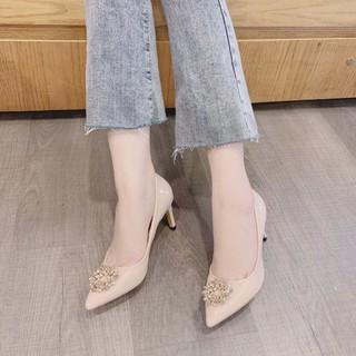 [Mã FASHIONRNK giảm 10K đơn 50K] [Mẫu mới] Giày cao gót da bóng Hoa đá vàng gót nhọn cao 8 phân vừa phải dễ đi chắc chân thumbnail