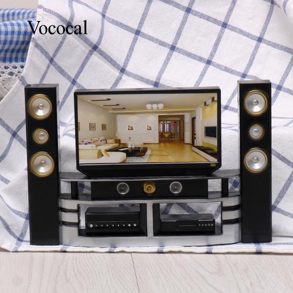 Doll House Plastic Mini TV Speaker Cabinet Set for Barbie Girls Christmas Gift