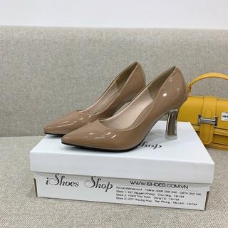 Giày cao gót da bóng mũi nhọn gót sơn cùng màu đen - nude - trắng - 7P