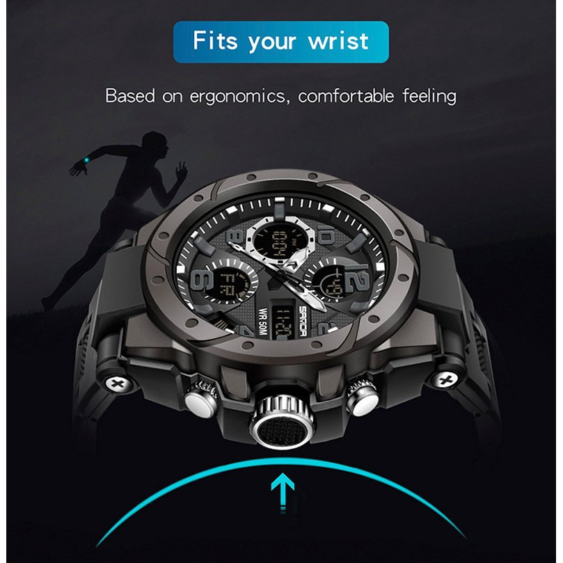 Đồng hồ nam sanda 6018 chính hãng , viền thép xoáy không gỉ , chống nước 50M-Gozid.watches