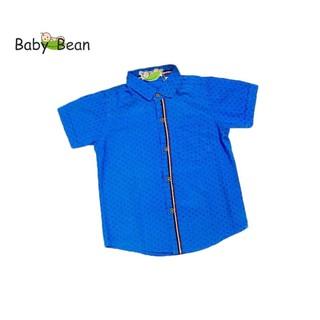 Áo Sơ Mi Cotton màu Xanh tay ngắn bé trai BabyBean
